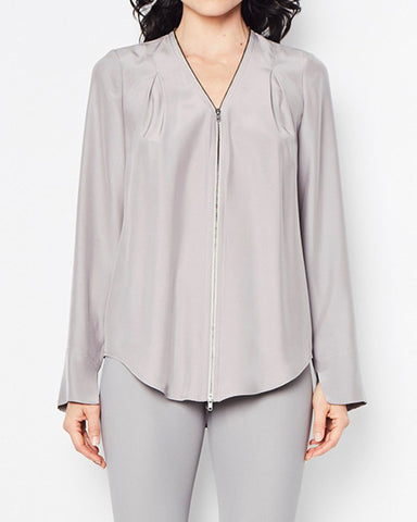 Quorgan Silk Blouse | Mica Grey