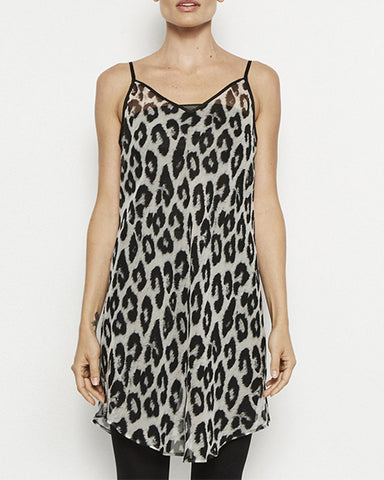 Louisa Long Sheer Silk Camisole | Leopard