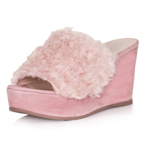 McKay Shearling Wedge | Rose