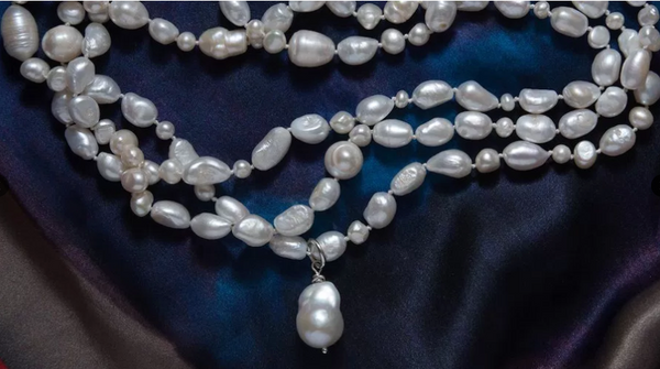 Extra Long Pearl Necklace with Baroque Pearl Drop