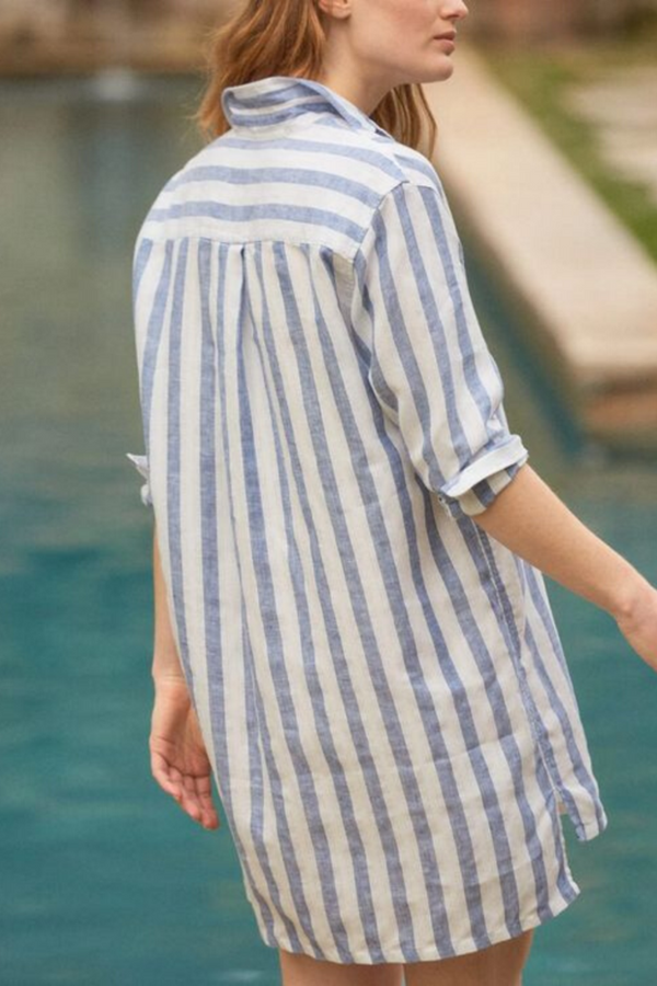 Hunter Linen Dress | Wide Blue Stripe