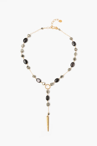 Black Mix Stone Short Adjustable Necklace