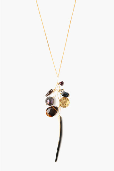 Black Mix Charm Layering Necklace