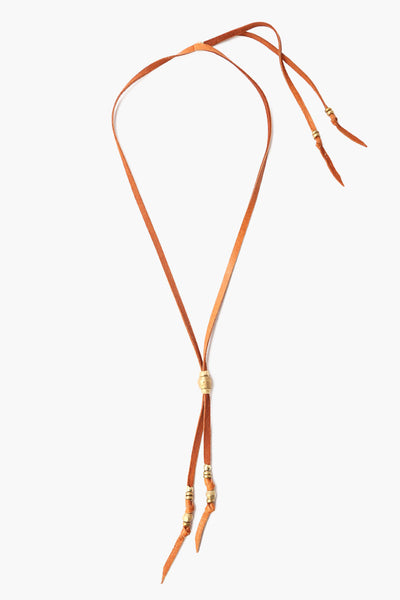 Saddle Leather and Gold Adjustable Necklace