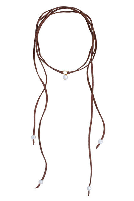 Pearl Leather Choker | White & Gold