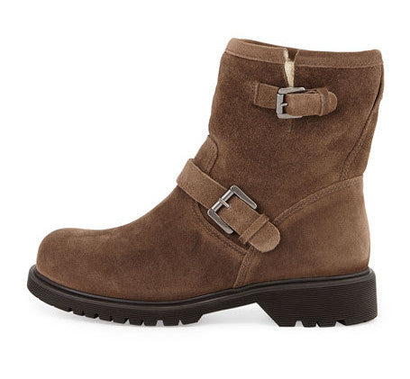 Hayes Shearling Lined Boot in Stone Oiled Suede