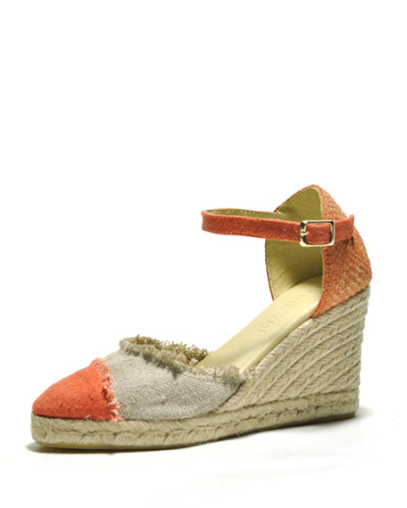 Erma Espadrille | Orange & Beige