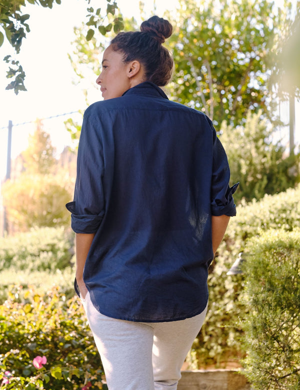 Eileen Cotton Voile Button Down | Navy