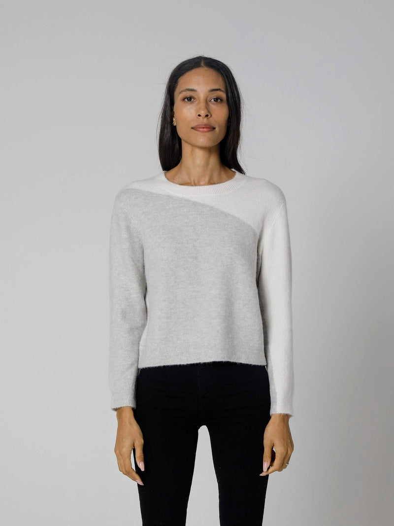 Marley Cozy Two Tone Pullover | Cream & Grey