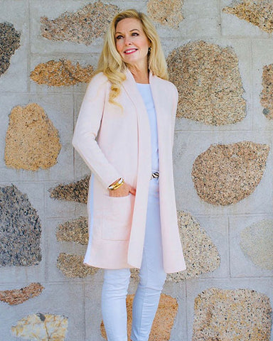 The Travel Coat with Stripe | Pink & White