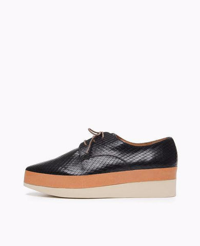 Pekos Wedge | Black Embossed Leather