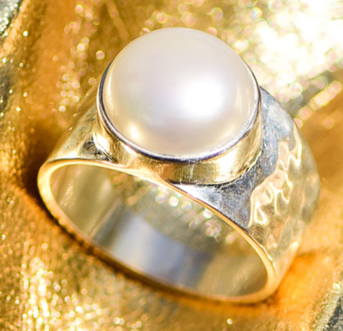 Pearl Ring Set in Sterling Silver | White