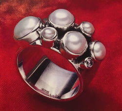 Faced Sterling Silver Pearl and Crystal Ring