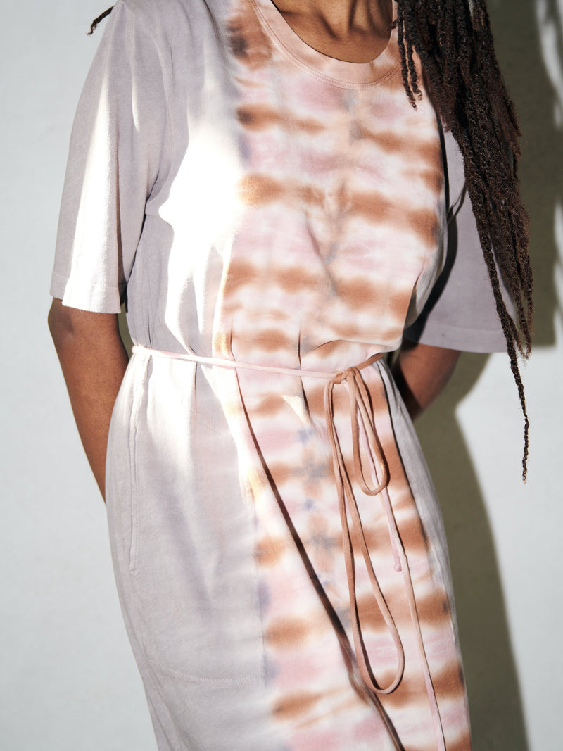 Belted Tee Dress Tiger Jersey Tie Dye