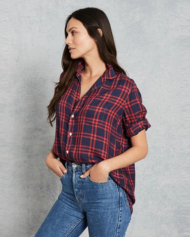 Eileen Modal Check Button Down | Navy & Red