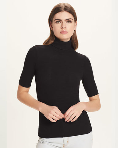 Ribbed Half Sleeve Turtleneck | Black