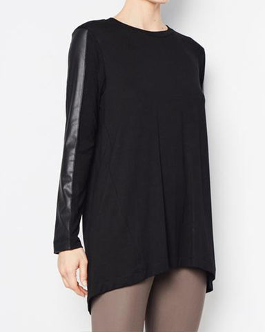Roland Leather Sleeve Tunic | Black