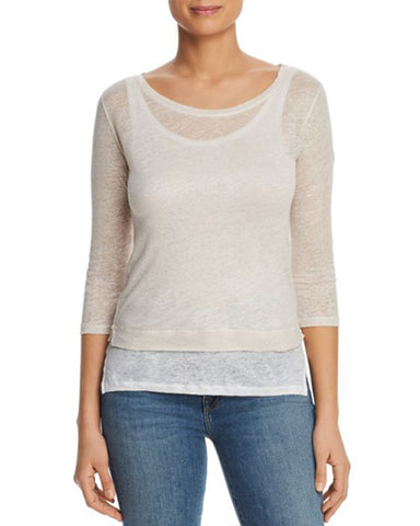 Linen Double Layer 3/4 Sleeve Boatneck | Rose & Blanc