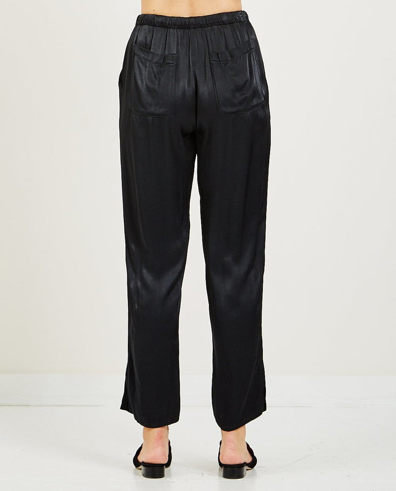 Satin Drawstring Trouser | Black
