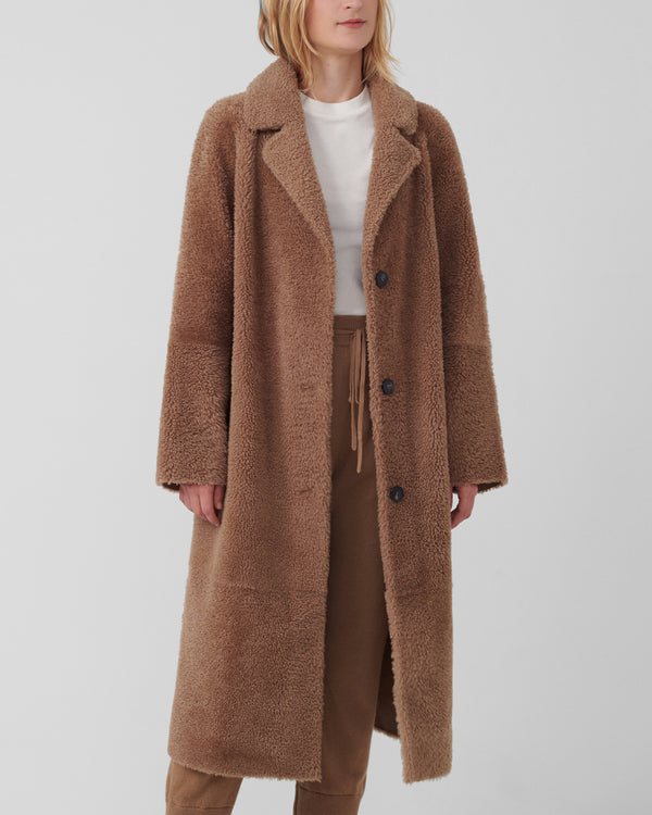 Savannah Long Teddy Coat | Caramel