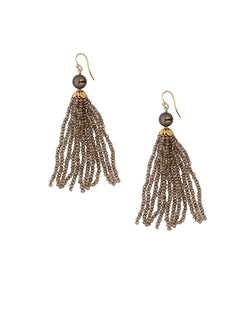 Beaded Fringe Earrings | Mystic Smokey Mix