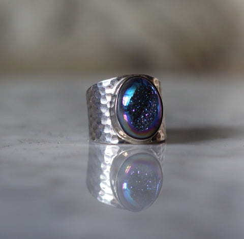 Oval Druzy Ring Set in Sterling Silver | Blue/Green