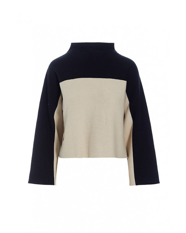 Mock Neck Color Block Sweater | Ivory & Black