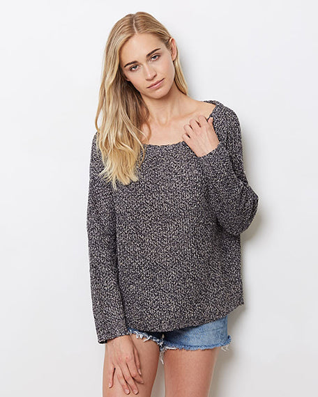 Marled Off Shoulder Top | Black Multi