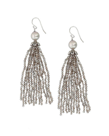 Beaded Fringe Earrings | Mystic Labradorite Mix
