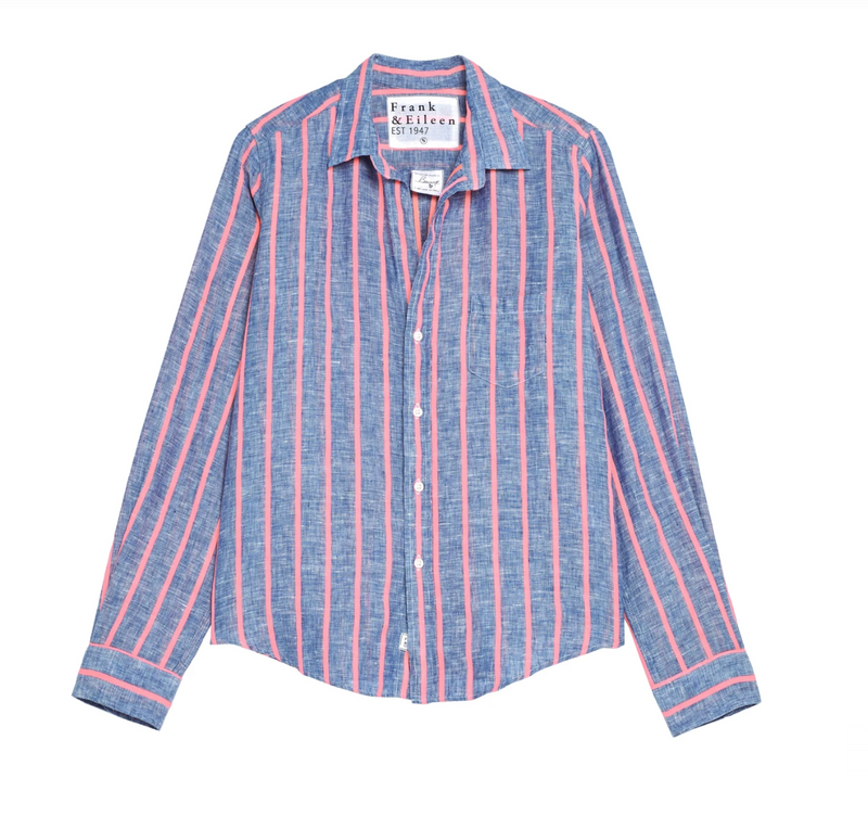 Barry Linen Button Down | Neon Pink Stripe