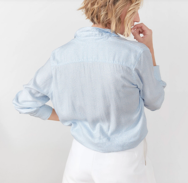 Eileen Modal Button Down | Light Blue Flowers