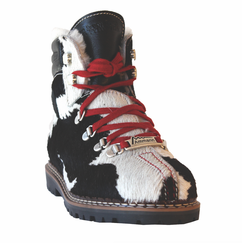 Town 3 Bootie | Black & White Cowhide