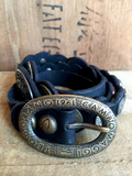 Black Embellished Cowhide Leather Belt