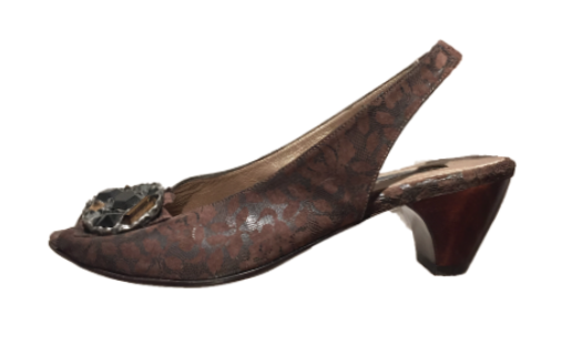Hayden Slingback | Embellished Dark Brown Lace
