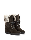 Cordelia Suede & Fur Wedge | Grey