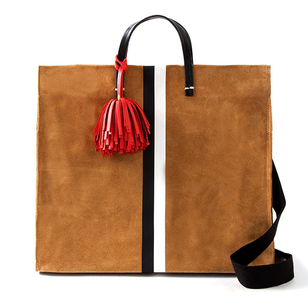 Simple Tote in Suede | Camel Stripe