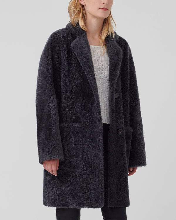 Trinity Boxy Teddy Coat | Graphite