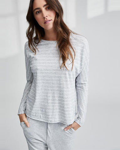 Continuous Sleeve Tee | Grey Melange Stripe
