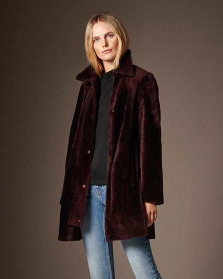 Tess Side Snap Car Coat | Russet Brown