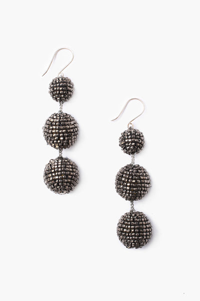 Cut Bead Pom Pom Ball Earring | Gunmetal