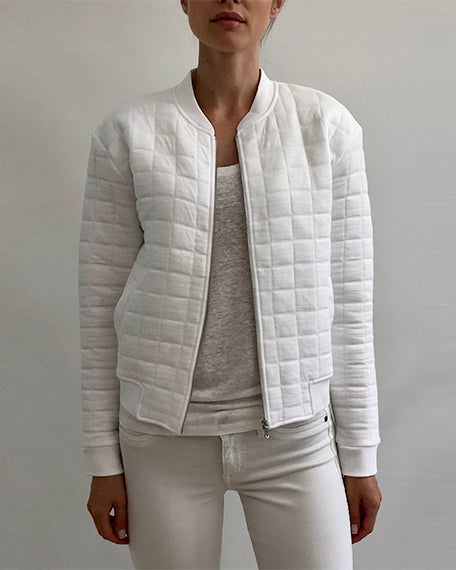 Viscose Quilted Bomber Jacket | Blanc