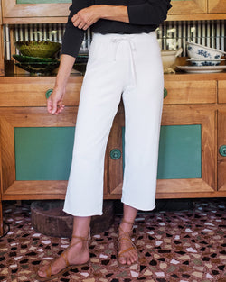 Cropped Wide Leg Sweatpant | wHite