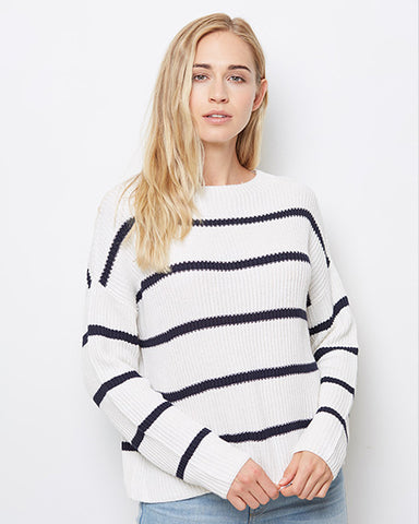 Fisherman's Rib Pullover | White & Navy