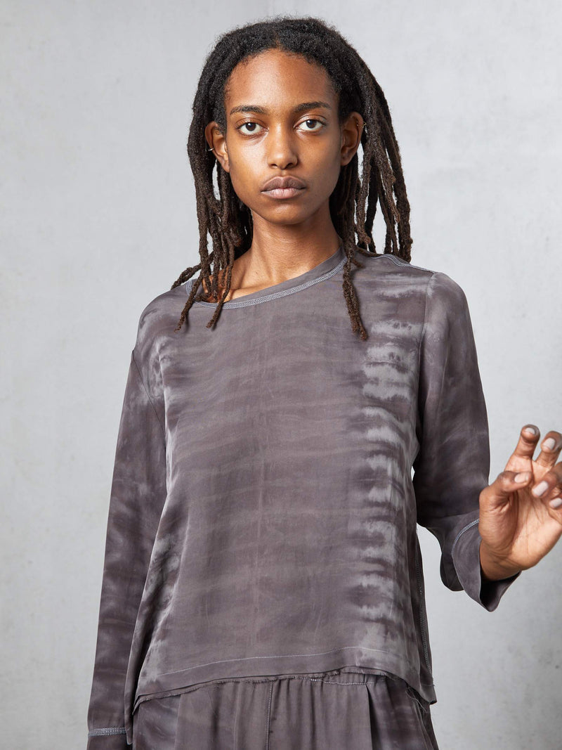 Silk Tracker Top Slate Tie Dye