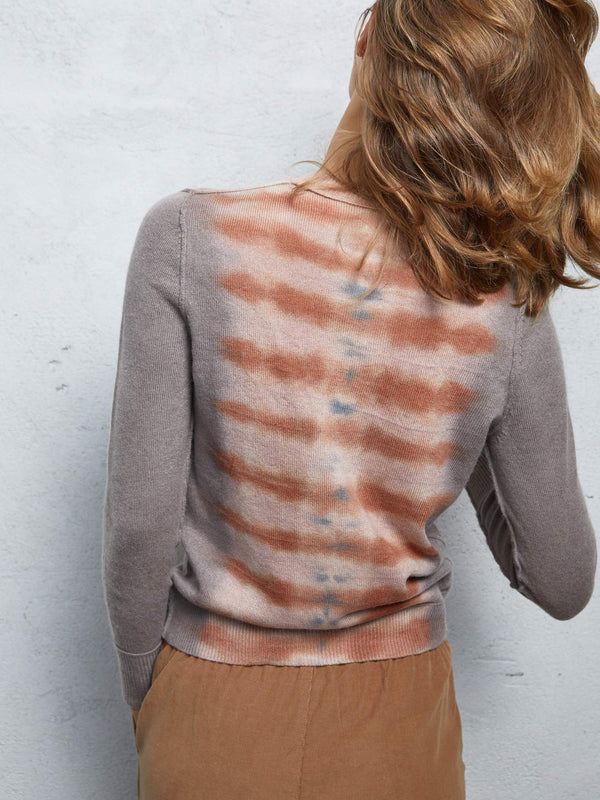 Cashmere Fitted Crew Tiger Tie Dye
