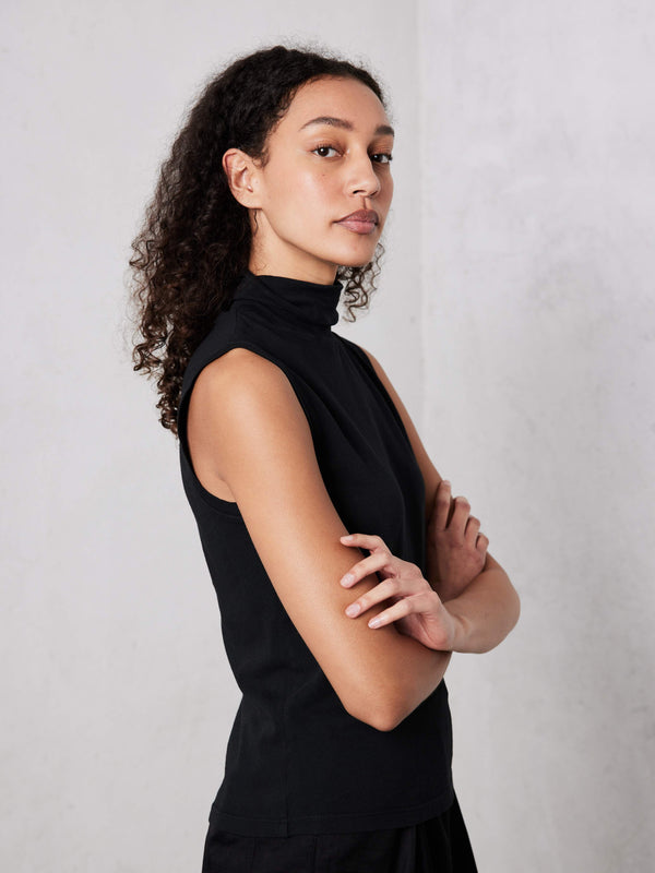 Black Jersey Sleeveless Turtleneck