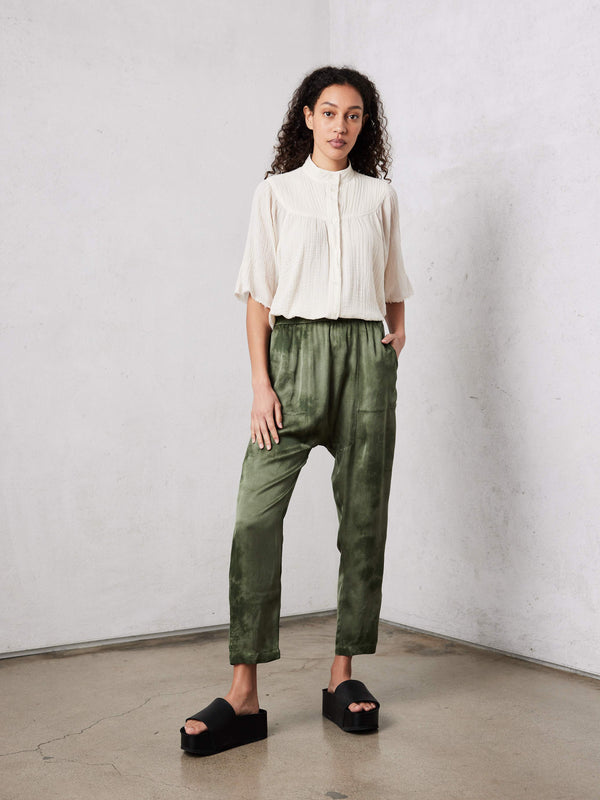 Matte Satin Sunday Pant | Army Cloudwash