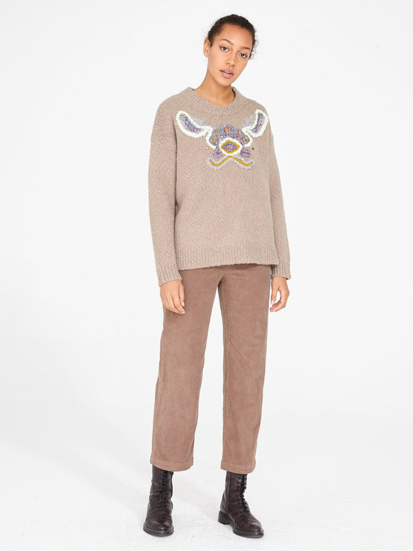 Tapestry Intarsia Oversize Crew | Putty