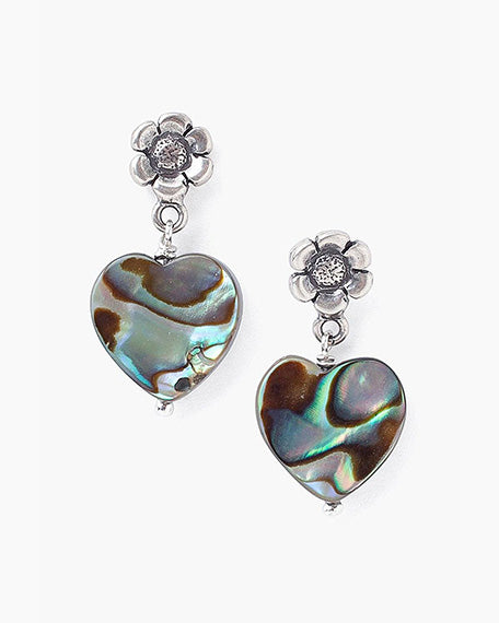Tiered Flower & Abalone Heart Earrings