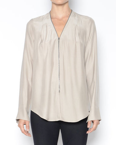 Quorgan Silk Blouse | Almond